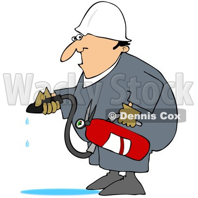 Royalty-Free (RF) Clipart Illustration of a Caucasian Worker Man In A Puddle Of Water After Using A Fire Extinguisher © djart #217234