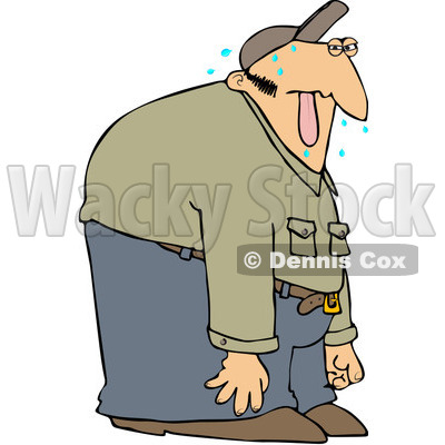 Royalty-Free (RF) Clipart Illustration of a Sweaty Man Hanging His Tongue Out © djart #217235