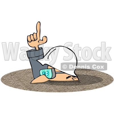 Royalty-Free (RF) Clipart Illustration of a Caucasian Worker Man In A Deep Pile Of Dirt © djart #217246