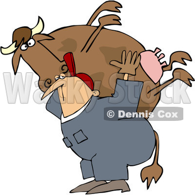 Royalty-Free (RF) Clipart Illustration of a Farm Worker Carrying A Big Cow On His Back © djart #218288