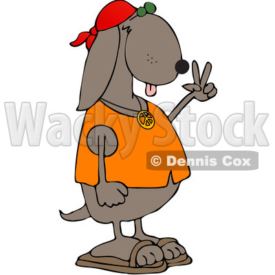 Royalty-Free (RF) Clipart Illustration of a Hippie Dog In A Red Cap And Orange Shirt, Gesturing Peace © djart #218289