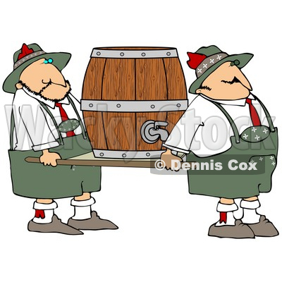 Clipart Illustration of a Couple Of Oktoberfest Guys Carrying A Heavy Beer Keg Barrel On A Platform © djart #22010