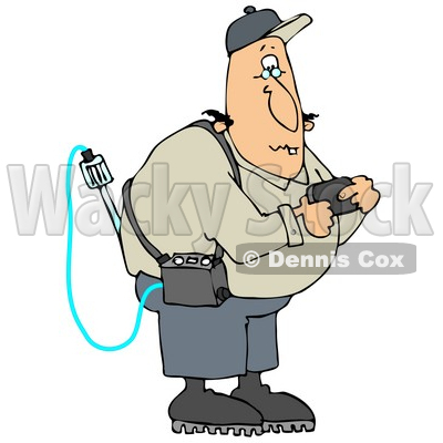 Clipart Illustration of a White Man Reading A Gas Detector Pager While Working On The Job © djart #22093