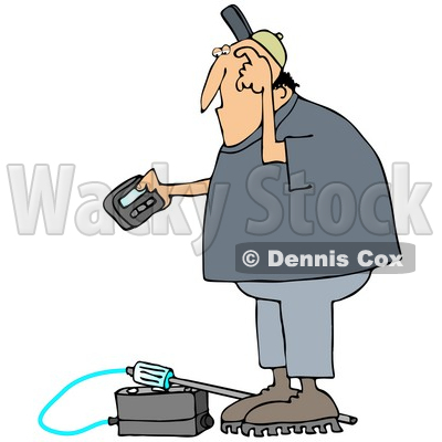 Clipart Illustration of a Confused White Man Scratching His Head, Reading A Gas Meter Detector Pager While Working © Dennis Cox #22094