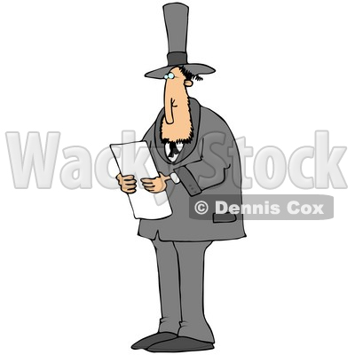 Clipart Illustration of Abraham Lincoln In A Black Suit And Top Hat, Standing And Reading While Giving A Speech As American President © Dennis Cox #22095