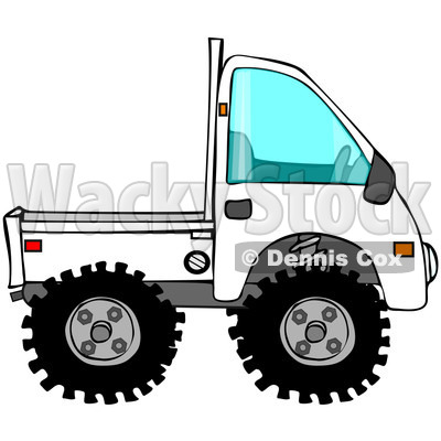 Royalty-Free (RF) Clipart Illustration of a White Keimini Truck © djart #223727