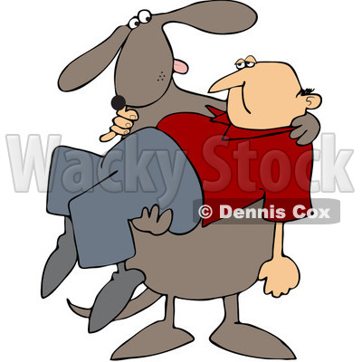 Free (RF) Clipart Illustration of a Big Dog Carrying A Man ...