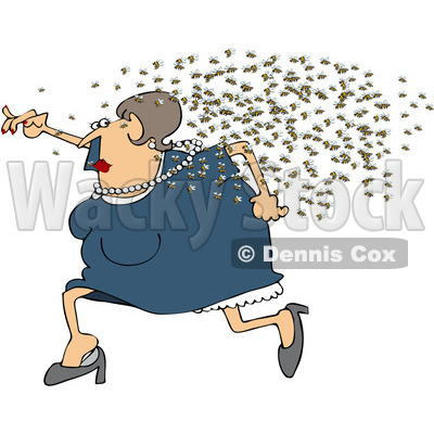 Royalty-Free (RF) Clipart Illustration of a Chubby Woman Running Away From A