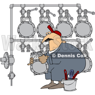 Royalty-Free (RF) Clipart Illustration of a Gas Man Changing A Meter Header © djart #224975