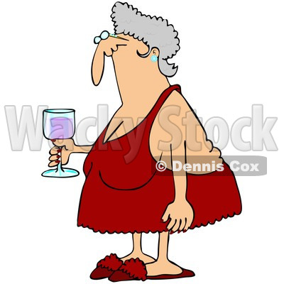 Royalty-Free (RF) Clipart Illustration of a Senior Woman In Red Lingerie, Carrying A Glass Of Wine © djart #224978