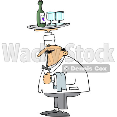 Royalty-Free (RF) Clipart Illustration of a Chubby Male Waiter Holding A Tray Of Wine Over His Head © djart #224979