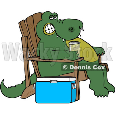 Royalty-Free (RF) Clipart Illustration of a Relaxed Alligator Sitting In An Adirondack Chair And Drinking A Canned Beverage By A Cooler © djart #224981