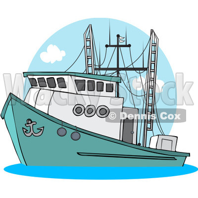 Royalty-Free (RF) Clipart Illustration of a Trawler Fishing Boat At Sea - 2 © djart #229145