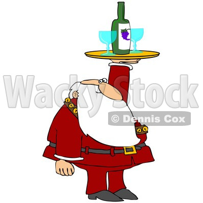 Royalty-Free (RF) Clipart Illustration of Santa Holding Up A Wine Tray With Glasses © djart #229146