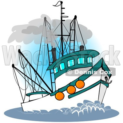 Royalty-Free (RF) Clipart Illustration of a Trawler Fishing Boat At Sea -