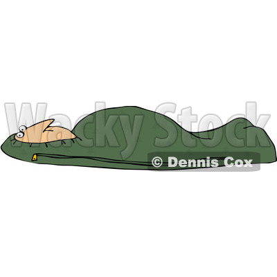 Royalty-Free (RF) Clipart Illustration of a Man Tucked In A Green Mummy Sleeping Bag © djart #229160