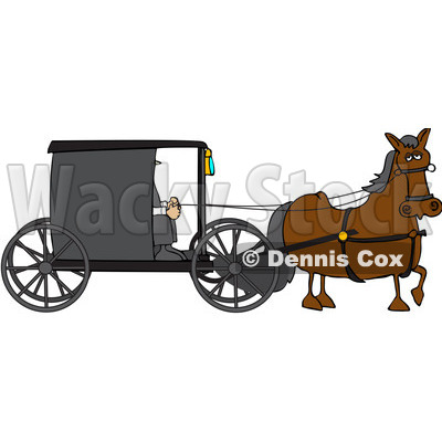 Royalty-Free (RF) Clipart Illustration of a Brown Horse Pulling An Amish Buggy © djart #229161