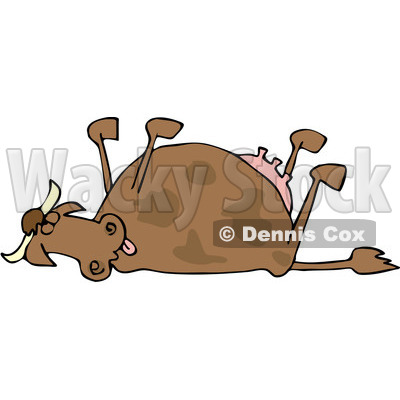 Royalty-Free (RF) Clipart Illustration of a Dead Cow With Her Legs Up In The Air © djart #229163