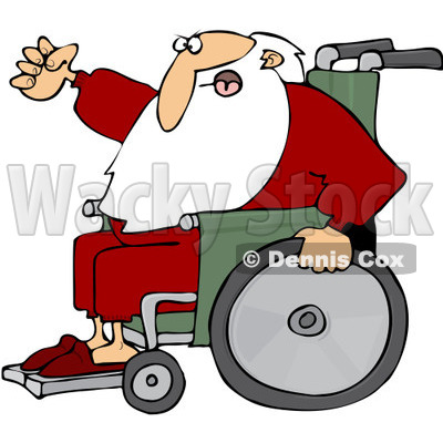 Royalty-Free (RF) Clipart Illustration of Santa Waving His Fist In Anger While Rolling His Wheelchair © djart #231465