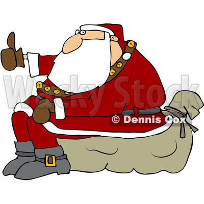 Royalty-Free (RF) Clipart Illustration of Santa Sitting On His Sack And Hitchhiking © djart #231643