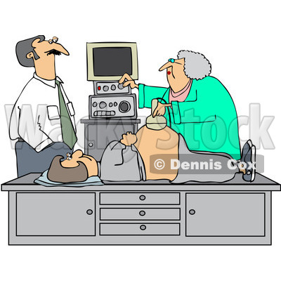 Royalty-Free (RF) Clipart Illustration of a Man Watching An Ultrasound Technician Taking A Sonograph Of His Pregnant Wife's Belly © djart #231644