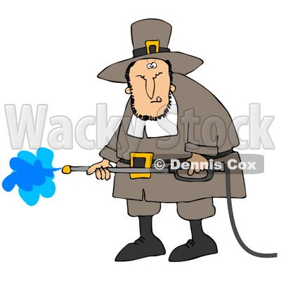 Clipart Illustration of a Grumpy Male Pilgrim In Brown Clothes And A Hat, Operating A Pressure Washer © djart #23819
