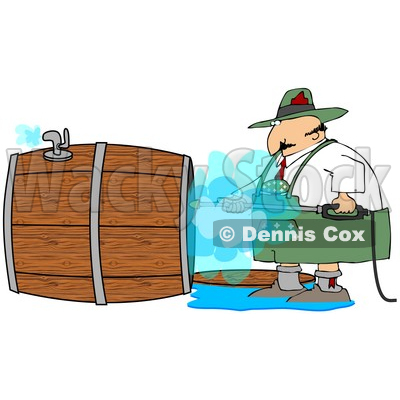 Clipart Illustration of a Oktoberfest Man Using A Power Washer To Clean The Inside Of A Wooden Beer Keg © Dennis Cox #24420