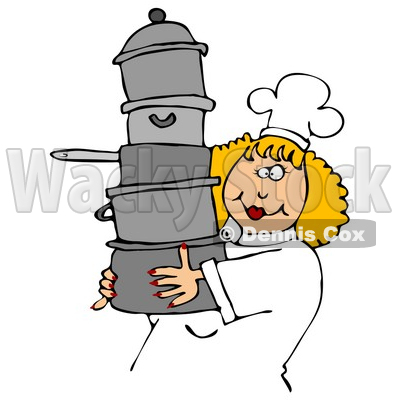 Culinary Clipart Illustration of a Happy Blond Chef Woman In A White Hat And Uniform, Carrying A Large Stack Of Pots © djart #24641