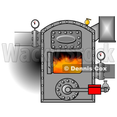 Clipart Illustration of Hot Flames Burning Inside An Open Boiler With Valves On The Pipes © djart #24645