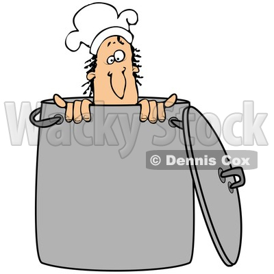 Clipart Illustration of a Silly Male Caucasian Chef Wearing A Hat And Peeking Out From Inside A Stock Pot © djart #24708