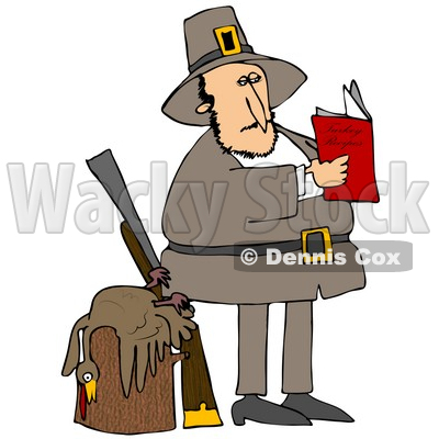 Clipart Illustration of a Male Pilgrim Standing By A Dead Turkey On A Stump And A Rifle, Reading A Book On How To Cook The Bird © djart #24710