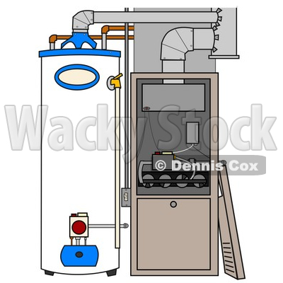 Clipart Illustration of a Furnace And Water Heater In A Residential Home, The Cover Off Of The Furnace © djart #24711