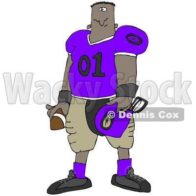 Clipart Illustration of a Black Football Player Man In A Purple And Tan Uniform, Holding A Football And A Helmet © djart #24990