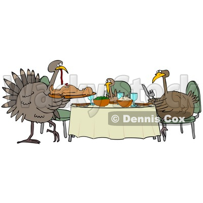 a image of a turkey. Clipart Illustration of a Turkey Bird Family Dining On A Man At A Table On