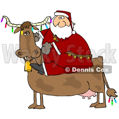 Clipart Illustration of Santa Riding A Cow Decorated In Colorful Christmas Lights © djart #25119