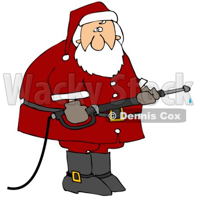 Clipart Illustration of Santa In His Red Suit, Operating A Power Washer Nozzle © djart #25120