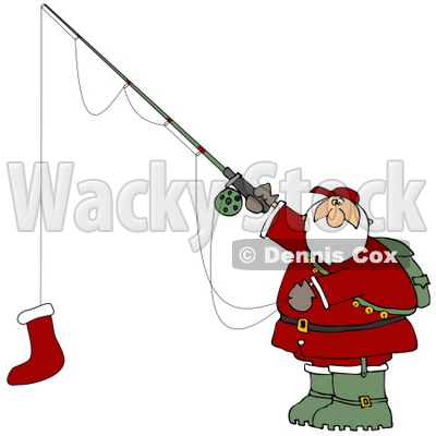 Clipart Illustration of Santa Holding A Red Christmas Stocking On A Fishing Pole Hook © djart #25418