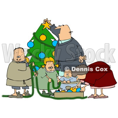 Clipart Illustration of a White Family With A Father, Mother, Brother, Sister And Baby, Decorating A Christmas Tree Together © djart #25420