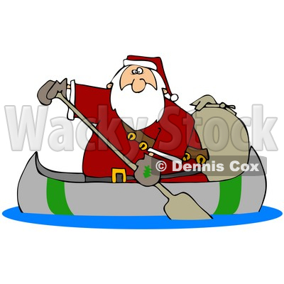 Clipart Illustration of Santa Paddling A Canoe With A Sack Of Toys Behind Him © djart #25421