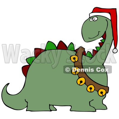 Clipart Illustration of a Green Dinosaur With Red And Green Spikes, Wearing A Santa Hat And Sash Of Jingle Bells © djart #25827