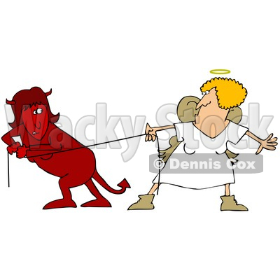 Clipart Illustration of a Red Evil Devil Woman In A Fight Of Tug Of War With A Good Angel Woman © Dennis Cox #25829