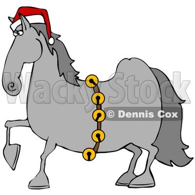 Clipart Illustration of a Handsome Gray Horse Decked Out In A Red Santa Hat And Golden Jingle Bells On Christmas © djart #26329
