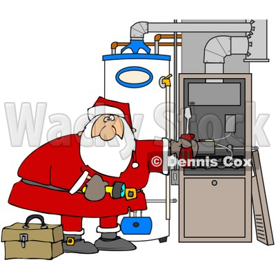 Clipart Illustration of Santa Bending Over And Repairing Wires In An Hvac System For Christmas © djart #26330