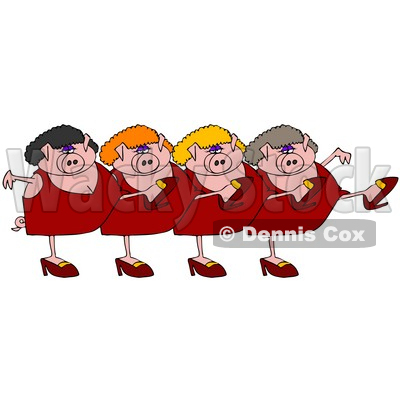Clipart Illustration of Four Pink Lady Pigs In Dresses, Heels And Wigs, Kicking Their Legs Up While Dancing In A Chorus Line © djart #26331