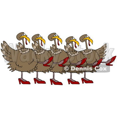 Clipart Illustration of Five Brown Turkey Birds In High Heels, Kicking Their Legs Up While Dancing In A Chorus Line © Dennis Cox #26332
