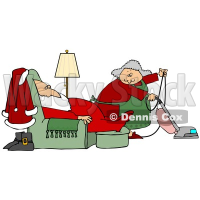 Clipart Illustration of Mrs Claus Vacuuming The Living Room As Santa Sleeps In A Lazy Chair © djart #26540