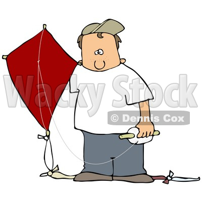Clipart Illustration of a White Boy In A Hat And Casual Clothes, Standing Outdoors With A Red Kite On A Windy Day © djart #26630