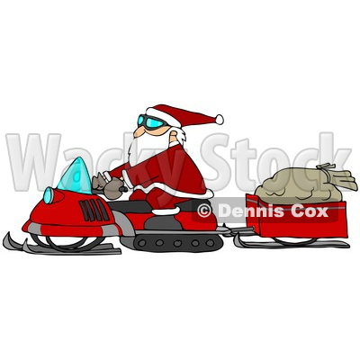 Clipart Illustration of Santa Claus Snowmobiling To Deliver Presents, His Sack Of Toys In A Trailer Behind Him © djart #26990