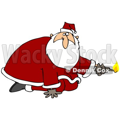 Clipart Illustration of Santa Claus Kneeling And Holding A Lit Match, Preparing To Light Something On Fire © djart #27014