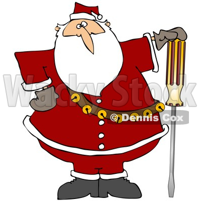Clipart Illustration of Santa Claus In His Red Suit, Resting His Hand On Top Of A Flathead Screwdriver © djart #27258